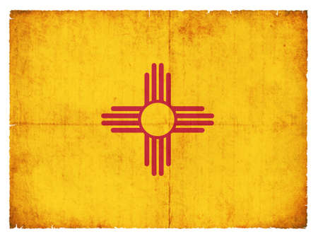 the u s  flag: Flag of the US state New Mexico created in grunge style Stock Photo
