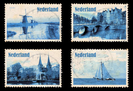 typically dutch: Set containing self designed stamps from own pictures of the Netherlands Stock Photo
