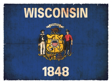 state wisconsin: Flag of the US state Wisconsin created in grunge style Stock Photo