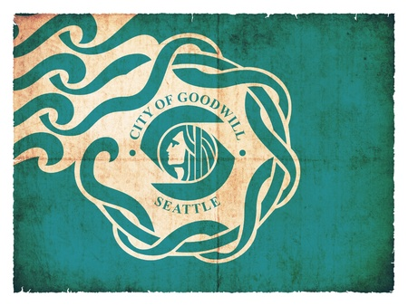 the u s  flag: Flag of Seattle  State of Washington  created in grunge style Stock Photo