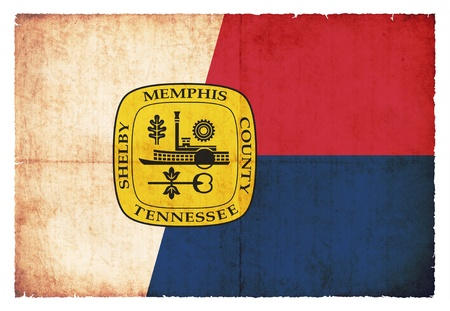 Flag of Memphis  State of Tennessee  created in grunge style photo