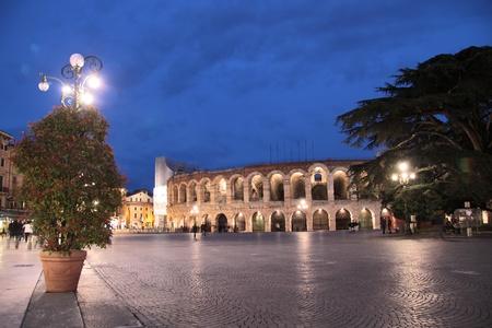 Arena di Verona at the Piazza Bra at night, Veneto, Italy