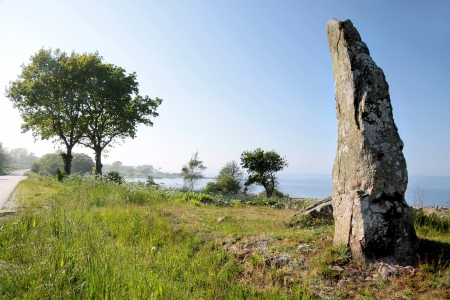 Monolith: Large monolith on the coast of Bornholm, Denmark Stock Photo