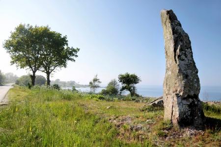 monolith: Large monolith on the coast of Bornholm, Denmark Stock Photo