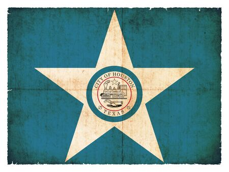 Flag of Houston  State of Texas  created in grunge style