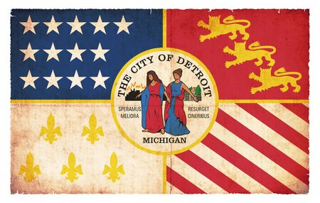 Flag of Detroit  State of Michigan  created in grunge style