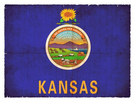 the u s  flag: Flag of the US state Kansas created in grunge style Stock Photo