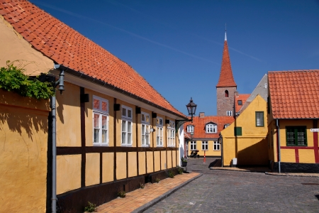 dwell: Historical town center of Roenne on Bornholm Stock Photo