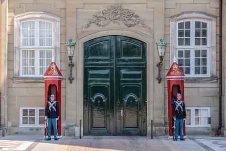 sentry: Palace guard at Amalienborg Palace in Copenhagen, Denmark