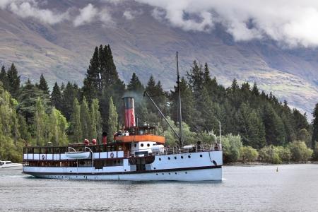 Steamship TSS Earnslaw on Lake Wakatipu, Otago, South island,  New Zealand Editorial