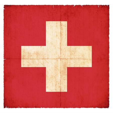National Flag of Switzerland created in grunge style photo