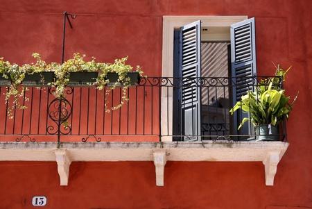 veneto: Colorful Balcony in the old town in Verona, Veneto, Italy