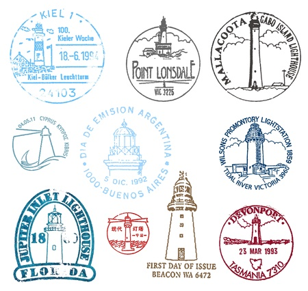 lonsdale: Set of stamps with various lighthouses from all over the world Stock Photo