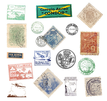 Vintage postage stamps and  labels from Brazil, showing airmail motifs and national symbols