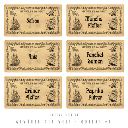 spice: Illustration set  with six spice labels, Orient  1 Stock Photo
