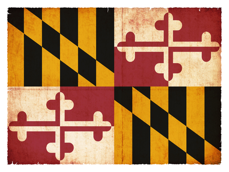 Flag of the US state Maryland created in grunge style
