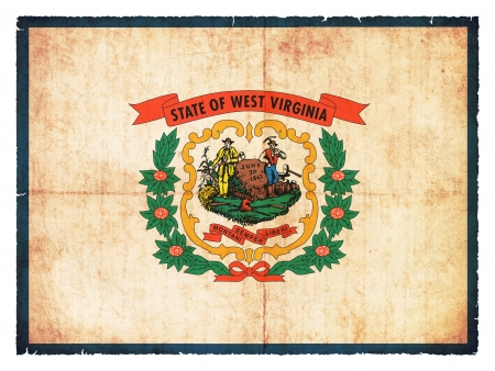 the u s  flag: Flag of the US state West Virginia created in grunge style Stock Photo