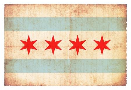 banderas americanas: Bandera de Chicago Estado de Illinois cre� en el estilo grunge Foto de archivo