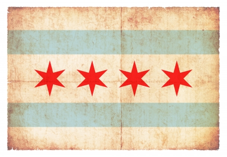 Flag of Chicago  State of Illinois  created in grunge style Stock Photo