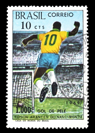 Stamp from Brazil showing the 1000 goal of Pele  Issued in 1969
