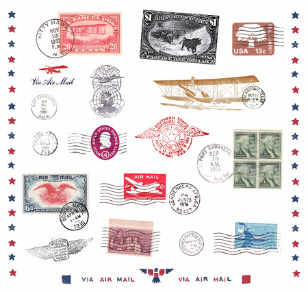 Postage stamps and labels from US, mostly vintage showing airmail motifs