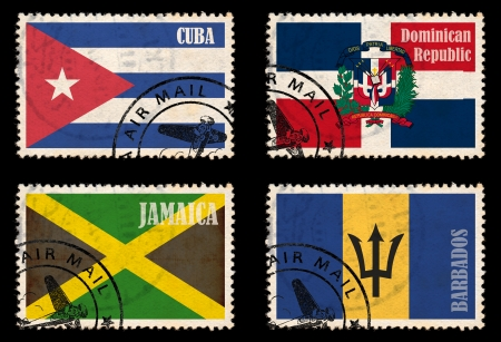 Set of self designed stamps with flags from the Caribbean  Jamaica, Barbados, Cuba, Dominican Republic  photo