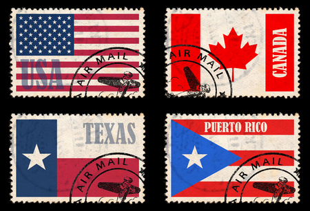 canada stamp: Set of stamps with flags from the North America  USA, Texas, Canada, Puerto Rico