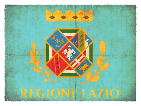 italien: Flag of the italien region Latium created in grunge style