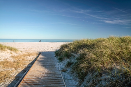 Jetty and white sandy beach on the south coast of Dueodde,  Bornholm, Denmark