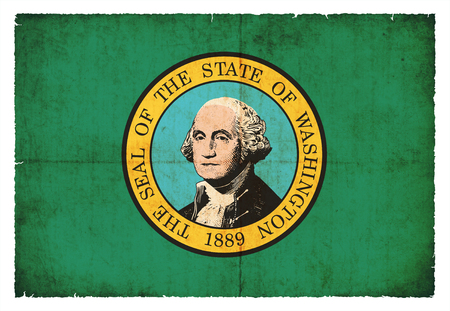 u.s. flag: Flag of the US state Washington created in grunge style