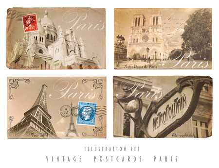 Set with four self designed Postcards of Paris in vintage style