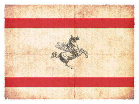 italien: Flag of the italien region Tuscany created in grunge style Stock Photo