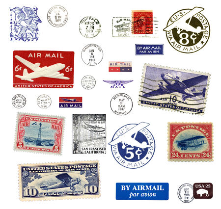 Postage stamps and labels from US, mostly vintage