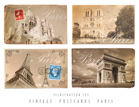 Vintage Postcards Set Paris photo