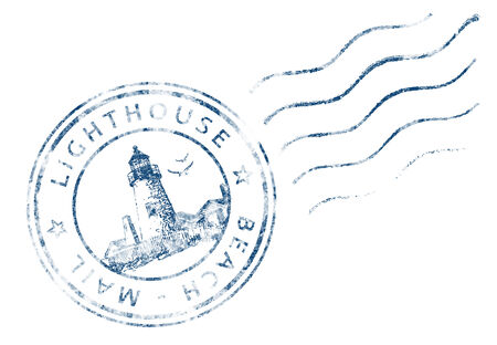 Self designed  Stamp Lighthouse Beach Mail  grunge design  photo