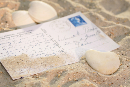 love proof: Heart with postcard and sea shells on the beach