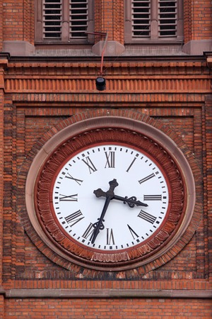 neo gothic: Church clock at the Market Church in Wiesbaden, Hesse, Germany