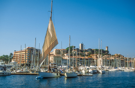 Harbor and old town of Cannes, Cote Azur, France photo