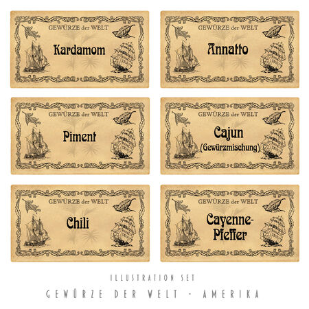 spice: Illustration set  with six spice labels, America