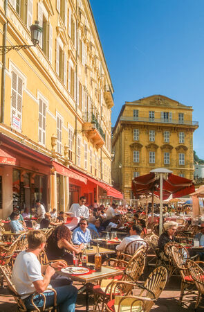 azur: Street cafe at the Cours Saleya in Nice, Cote Azur, France Editorial