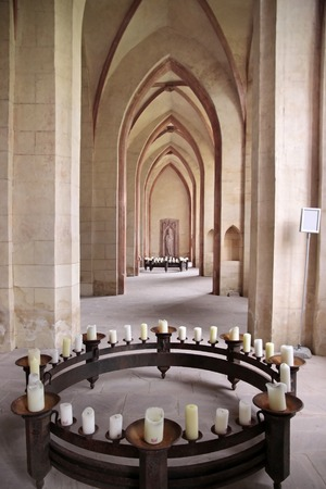 candleholders: Candles in the nave of the Cistercian monastery Kiedrich, Rheingau, Hesse, Germany