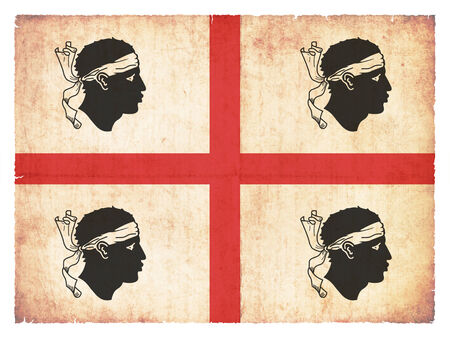 italien: Flag of the italien region Sardinia created in grunge style Stock Photo