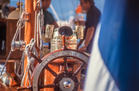 Steering wheel of french yacht in Saint Tropez, Cote Azur, France