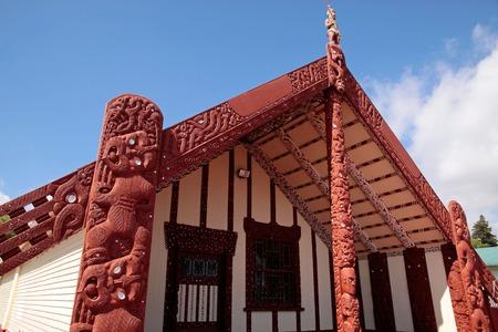 Maori huis in Rotorua, North Island, Nieuw-Zeeland