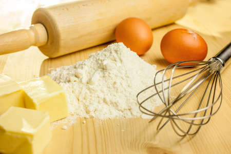 Ingredients and utensils for baking Christmas cookies photo
