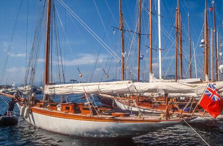 Sailing yacht in the harbor of Saint Tropez, Cote Azur, France