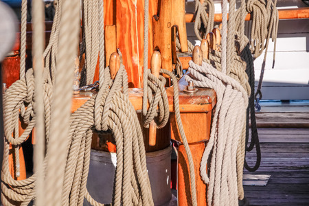 Masts and ropes of a large sailing ship in Amaliehaven, Copenhagen, Denmark photo
