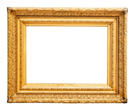 Magnificent old, golden, wooden picture frame (optional) Stock Photo