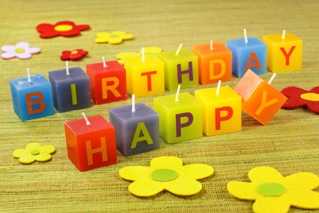 childrens birthday party: Colorful decoration with small candles for birthday