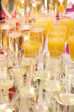 prickling: Champagne glasses and juice glasses